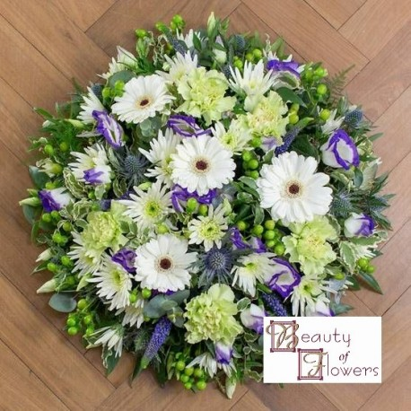 White and Blue Posy Pad S102