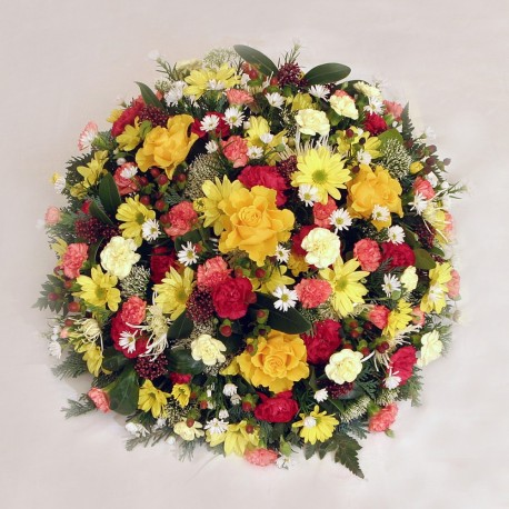 Yellow red and Orange Funeral Posy Pad