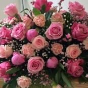 Pink Rose Coffin Spray S013