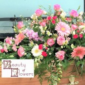 Pink and White Trailing Coffin Spray
