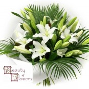 White Lily Watered Handtied