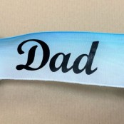 Dad letters on blue satin ribbon